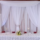 Sheer soft fabric panels hanging crystals. Add up lighting or string lights